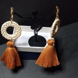 Clip-on rattan tassel drop earrings